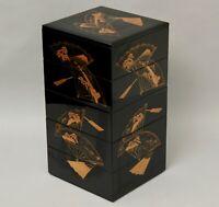 Beautiful   Japanese Makie Lacquered  layered  box  Jubako with fan design DD44