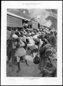 1897 Antique Print - INDIA Plague Exodus Bombay Train Amadee Forestier  (232)
