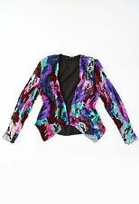 Vintage 80s full sequin abstract SILK cropped dress coat jacket Blazer S