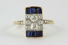 Art Déco Ring 14K 585 Gelbgold & Platin mit Diamanten 0,59 ct & Saphiren 0,90 ct