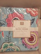 Pottery Barn Teen Pretty Posy Duvet Cover Floral Garden Full Queen NO sham blue