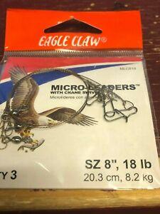 """MICRO-LEADERS W/*CRANE SWIVEL, (3) SIZE 8"""", 18 LB. EAGLE CLAW CLASSIC"""