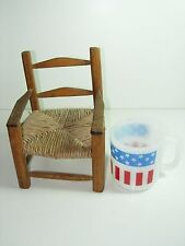 VINTAGE DOLLHOUSE Doll Bear Miniature Furniture Wood Chair Rush Wicker Seat