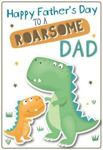 Fathers Day Greetings Card Cute Love Best Dad World Daddy Super Roarsome Gift