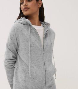 M&S AUTOGRAPH Pure Cashmere Grey Oversize Zip Pocket Hoodie Cardigan Size Medium