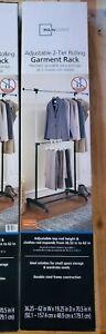 One 2 Tier Rolling Garment Rack Adjustable Dual Rod Clothes Hanger