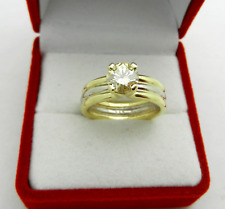 Solid 585 (14k) Two Tone Anniversary Engagement 0.97 ct Moissanite Ring  Band