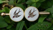 Antique 14k Gold Rose Cut Diamond Ruby Enamel Swallow Pin Brooch Estate Jewelry