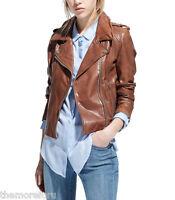 Women Motorcycle Genuine Leather Jacket Zipper Lambskin Bomber Biker Slim fit N1