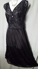 "Amoureuse BLACK Nightgown Robe  PEIGNOIR SET  42"" Long  Sz 3X 56"" BUST"