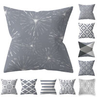 Gray Cushion Cover Protectors Geometric Pillow Case Sofa Velvet Home Decor NEW