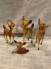 Vintage Christmas Hard Plastic Deer Reindeer Bambi Set of 4 Hong Kong