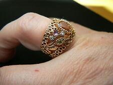 Women's 14kt Yellow Gold Citrine Amethyst Peridot Diamond Ring Signed AJ
