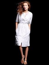 Gap SP Nwt Optic White Stripe 3/4 Sleeve Seersucker Shirtdress Dress Petite S