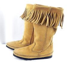 Minnetonka Womens 7 Genuine Suede Fringed Boots Moccasins Southwest