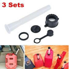3 Sets Gas Fuel Tank Oil Jerry Can Spout Tube Cap Kit Motorcycle Car Lawn Care