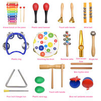 20X Kids Musical Instruments & Wooden Percussion Toys Rhythm Band Value Set Gift