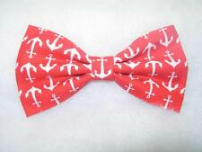 Anchor Bow Tie / Nautical White Anchors on Red / Pre-tied Bow tie