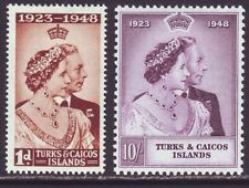 Turks & Caicos Islands 1948 SC 92-93 MH Set Silver Wedding
