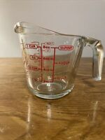 Vtg Anchor Hocking Red Lettering 1 Cup Glass Measuring Cup 696