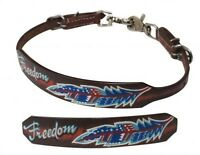"""Showman MEDIUM OIL Leather Wither Strap W/ Painted """" Freedom"""" Design! HORSE TACK"""