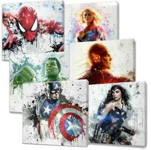Marvel & Dc Characters Paint Splatter Canvas wall art over 20 designs you choose