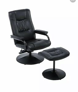 BLACK FAUX LEATHER MEMPHIS SWIVEL CHAIR & FOOTSTOOL RECLINING CHAIR RELAXING NEW