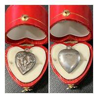 Vtg Sterling Silver Puffy Heart Bracelet Charm Flower Of The Month Carnation Jan