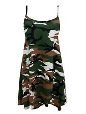 Womens Plus Size Cami Strappy Plain Tops Long Swing Dress 8-26 Green Army 24-26