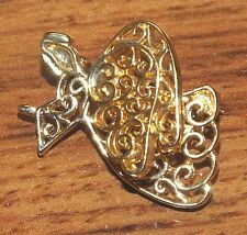 Gold Toned 3D Guardian Angel Thin Designed Springed Moving Wing Pin / Brooch!