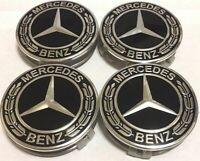 4PCS 75mm Mercedes-Benz Chrom schwarz Radmitte Radnabe Abzeichen Logo