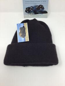 Arctic Beanie hat-100% Qiviut-musk ox Raven Black