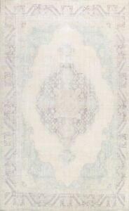 Antique Muted Tebriz Evenly Low Pile Area Rug Hand-knotted Distressed Wool 9x12