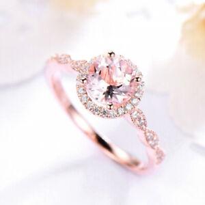 Natural Round Cut Morganite Engagement/Wedding 14 k Rose Gold Diamonds Ring