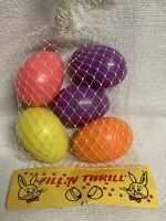 Vintage NOS Fillable Plastic Easter Large Eggs 5 Multi-Color Fill 'N Thrill