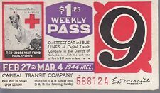 Trolly/Bus pass capital Transit Wash. DC--1944 Red Cross-----78