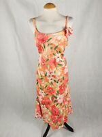Ladies Dress Size 14 PER UNA Coral Peach Linen Smart Day Party Wedding Summer