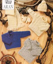 "Baby Textured Sweater Tunic Mittens Scarf Hat Aran 16 - 26"" Knitting Pattern"