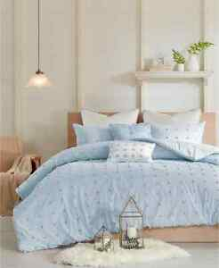 Urban Habitat 7 Piece Duvet Cover Set Cotton Jacquard Full/Queen Brooklyn, Blue