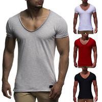 Herren T-Shirt Kurzarm Shirts Tiefer V-Ausschnitt Einfarbig Slim Fit Muskelshirt
