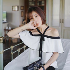 Women White Sexy Halter Off Shoulder Batwing Casual Loose Slim Shirt Blouse Top
