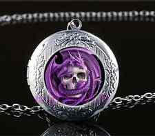 Purple Dragon And Skull Cabochon Glass Tibet Silver Locket Pendant Necklace