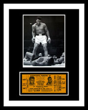 1965 MUHAMMAD ALI vs. SONNY LISTON BOXING TICKET & PHOTO DISPLAY *READY 2 FRAME*