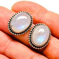 "Rainbow Moonstone 925 Sterling Silver Earrings 3/4"" Ana Co Jewelry E410698F"