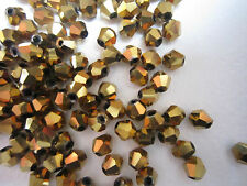 100 Austrian Crystal Glass Bicone Beads Jewellery Making - Gold Metallic -4mm