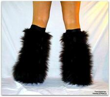 BLACK FLUFFIES FLUFFY LEGWARMERS BOOTS COVERS RAVE