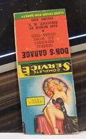Rare Vintage Matchbook Cover H2 Endicott New York Don's Garage Car Service Kisse
