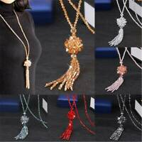 Women Fashion Crystal Beads Flower Tassel Pendant Sweater Necklace Bead Long 1PC