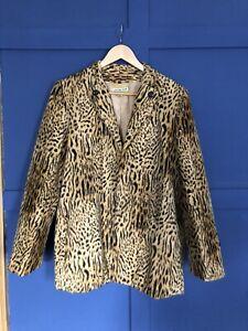 Vintage Leopard Cheetah Animal Print Faux Fur Jacket Blazer Size 10-12