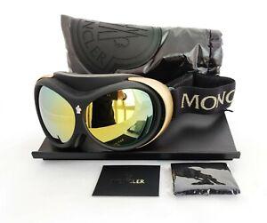MSRP $650 Moncler Snow Goggles ML Black Gold/Roviex 0130 05L Ski Snowboard